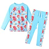 ZNYUNE Niña Traje de Baño 2 Piezas Top Manga Larga + Pantalones 301 Azul NO.4A para 3-4 años
