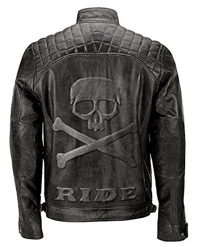e-clothing Veste de Cuir véritable Style Motard Moto Vintage matelassé avec crâne gravé Logo sur Le Dos - L