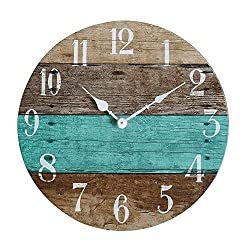 NIKKY HOME 14 Rustic Silent Noiseless Spliced Wood Round Beach Wall Clock