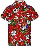 Funky Hawaiian Shirt, Cherry Parrot, Rosso, S