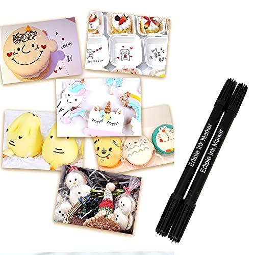 Uposao Rotuladores comestibles con puntas de doble punta para decorar fondants pasteles, galletas, glaseado, caja de color negro