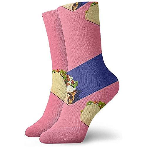 Gre Rry Regalos de Año Rollo de Pollo Mexicano Calcetines Azules y Rosados Calcetines Deportivos Transpirables Adultos Adolescentes