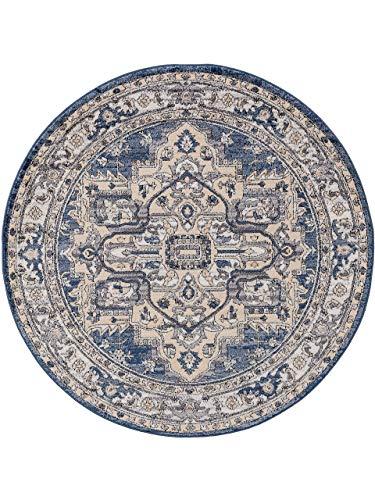 benuta CLASSIC Alfombra Redonda de Pelo Corto Sinan, Beige/Azul, diámetro de 160 cm, Redonda, Moderna Alfombra para salón