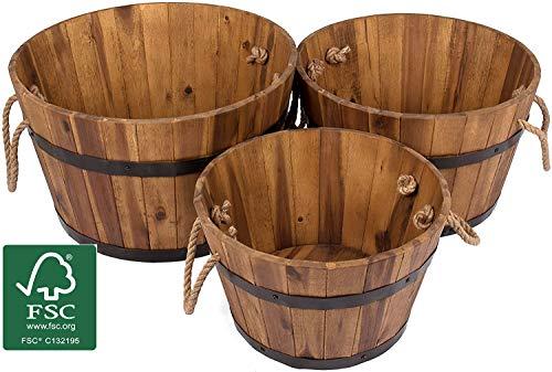 Vanage Tinas de Madera, Jardineras como la decoración, Macetas en un Juego de 3, Marrón