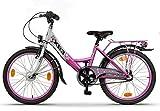 XB3 20 Zoll Kinderfahrrad für Mädchen, 3 Gänge Shimano Nabendynamo mit Nabenschaltung, Mädchenfahrrad mit Rücktrittbremse und LED-Licht StVZO (weiß/rosa)