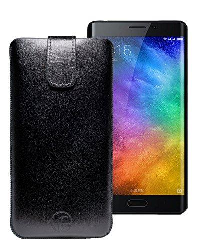 Original Favory Etui Tasche für Xiaomi Mi A1 Leder Etui Handytasche Ledertasche Schutzhülle Hülle Hülle *Lasche mit Rückzugfunktion* in schwarz