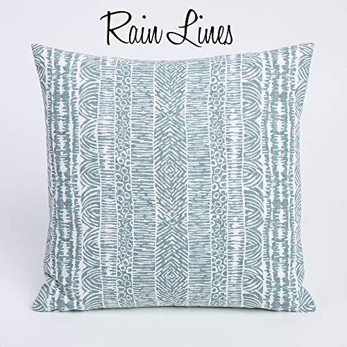 Ad4ssdu4 Rain Collection Decoratieve kussenslopen 18 x 18 inch 45 x 45 cm wit en blauw sierkussen accentkussen