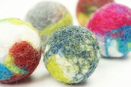 Jouet interactif de chat et de chien. Boule de laine Fait main. 5 pièces. Laine de mouton naturelle. Doux et léger. (wool ball 5 pieces)