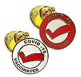 Vaccinated COVID-19 Coronavirus enamel Lapel Pin - Covid19 Badge gold plated pin - Brooch Vaccinated memorial for bag shirt - medical alert symbol USA pins set (2)