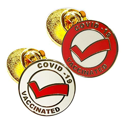 Vaccinated COVID-19 Coronavirus enamel Lapel Pin - Covid19 Badge gold plated pin - Brooch Vaccinated memorial for bag shirt - medical alert symbol USA pins set (2)