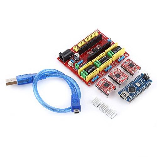 Walfront 3D-printer, gravure, uitbreidingsplatine, controller kit CNC Shield V4 Nano 3.0 Board A4988 driver met USB-kabel voor Arduino