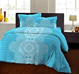 Bombay Dyeing 104 TC - Cotton Double Bedsheet with 2 Pillow Covers (Blue)