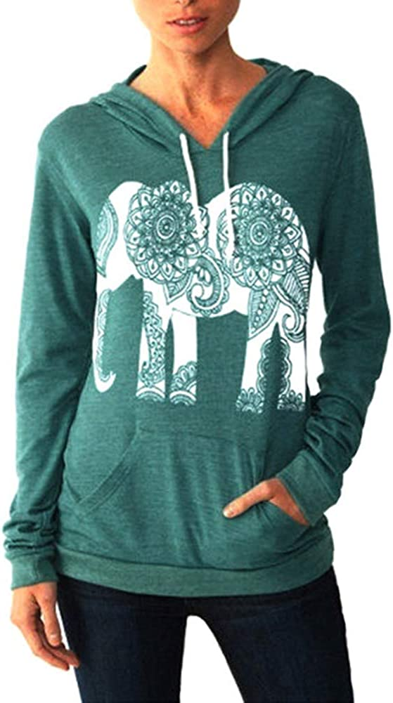 PRIMODA Women Hoodies Elephant Print Long Sleeve Pullover Casual Tops with Pocket