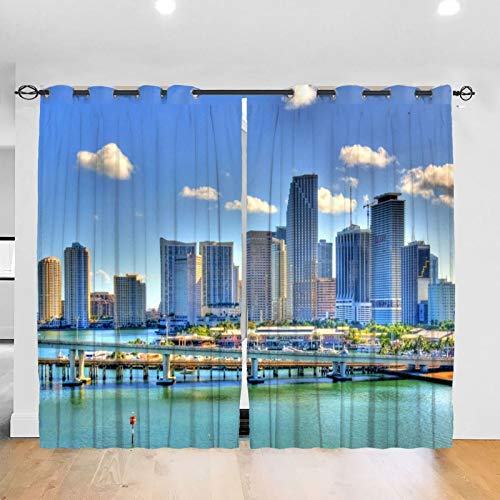 Miami Marqusi Residences Paramount Miami Blackout Curtains Bedroom Blinds - Solid Thermal Insulated Window Treatment Room Decor (2 Panels 52 X 72 in Punch)