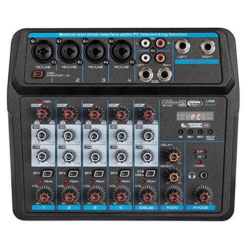 Depusheng U6 Sound Mixing Console Bluetooth USB Record Computer Playback 48V Phantom Power Delay Repeat Effect 6 Channels USB Audio Mixer