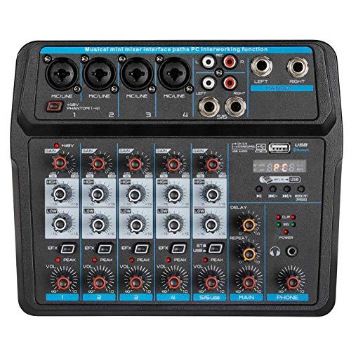 Depusheng Consola mezcladora de audio digital portátil de 6 canales...