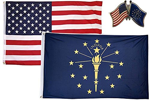 MWS Wholesale Combo USA & State of Indiana 2x3 2'x3' Flag & Lapel Pin