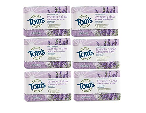 Tom's of Maine Natural Beauty Bar Soap, Lavender & Shea With Raw Shea Butter, 5 oz. 6-Pack