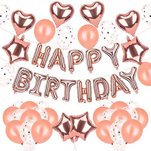 AIRCOVER 51Pcs Rosegold Happy Birthday Balloon Kit, Geburtstag Deko Rosegold Happy Birthday Folienballons Girlande mit Konfetti Luftballons Roségold Für Geburtstag Partydeko Mädchen und Frauen