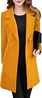 Inlefen Women's Autumn Winter Lapel Long Sleeve Slim Fit Solid Color Casual Fashion Coat