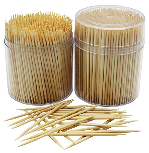 MontoPack Bamboo Wooden Toothpicks |1000-Piece Large Wood Round Toothpicks in Clear Plastic Storage Box | Sturdy Safe Double Sided Party, Appetizer, Olive, Barbecue, Fruit, Teeth Cleaning Toothpicks.