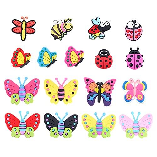 34 unidades de colgantes de mariposa para zapatos, lindos animales, mariposas, formas de abejas, zapatos de PVC, decoración para pulseras, pulseras de niños y niñas, regalo de fiesta de cumpleaños