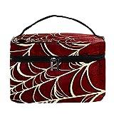 Spider Web - Bolsa de maquillaje con fondo rojo para viajes, bolsa de maquillaje, organizador con cremallera, para mujeres y niñas, Telaraña fondo rojo, 22.5x15x13.8 cm/8.9x5.9x5.4 inch,