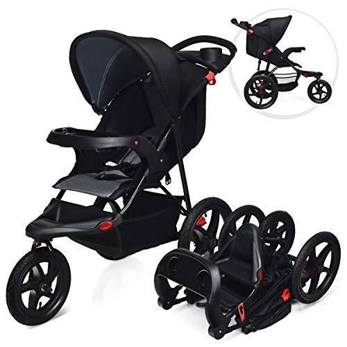 DREAMADE Dreirad Kinderwagen Klappbar, Jogger Buggy mit Liegefunktion, Sportwagen mit Sicherheitsgurt, Rückenlehne & Sonnenverdeck verstellbar, geeignet für Baby ab Geburt bis 36 Monaten (Schwarz)