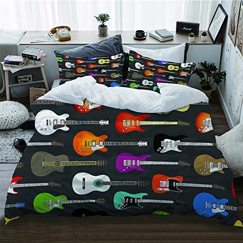 HATESAH Funda De Edredón,Fondo Transparente de Color Guitarras acústicas y eléctricas,3 Pcs...