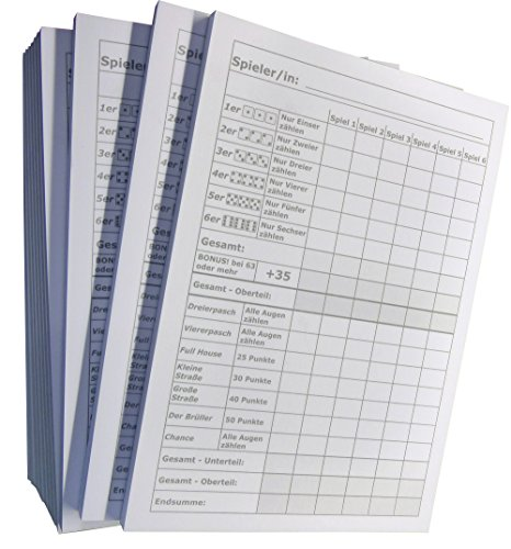5x Block für Würfelspiel - 50 Blatt, DIN A6, 50 Blatt, Qualitäts-Offset-Papier 80g/m² (22640)