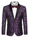 COOFANDY Mens Floral Tuxedo Jacket Paisley Shawl Lapel Suit Blazer Jacket for Dinner,Prom,Wedding Purple