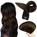 Full Shine 18 Inch Sew In Double Weft Hair Bundles Balayage Human Hair Color 1B Off Black Fading To 4 Medium Brown Balayage Straight Hair Extensions Real Brazilian Hair Bundles 100 Grams