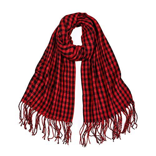 SOJOS Womens Plaid Scarf Large Long Blanket Check Wrap Shawl SC315 with RedampBlack Plaid
