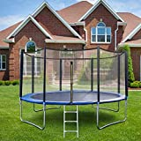 【Fast Arrive】 12Ft Fitness 𝕋rampoline with Safe Enclosure Net,Jumping Mat,Spring Cover Padding,Ladder,Combo Bounce Jump 𝕋rampoline, Outdoor 𝕋rampoline for Kids Adults,600lbs Weight Limit
