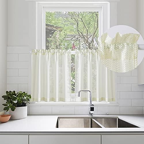 "Kitchen Tiers Curtains for Bathroom Semi Sheer Privacy Curtains Half Window Curtain Panels Café Curtains Rod Pocket, 1 Pair, 24"" Length, Cream White Herringbone"