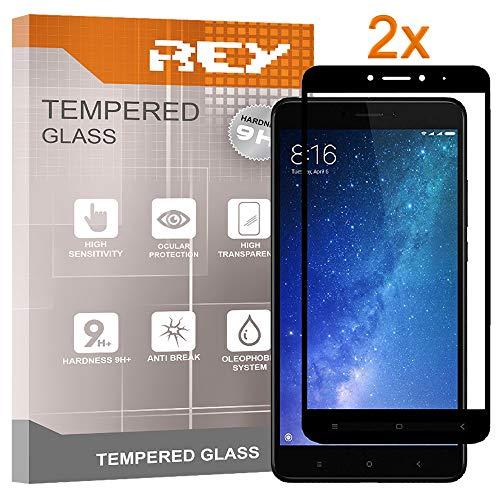 REY 2X Protector de Pantalla 3D para XIAOMI MI MAX - MI MAX 2, Negro, Protección Completa, 3D / 4D / 5D