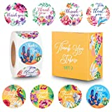 The Carefree Bee - 1.5 Inch Floral Thank You Stickers - 500 Stickers Per Roll - 8 Designs (Set 2)