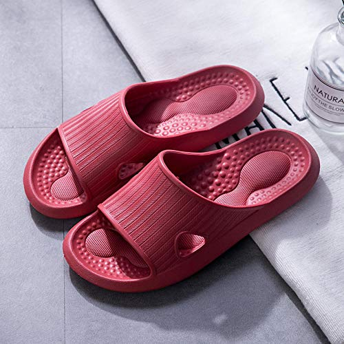 Piscina Zapatillas Suave,Zapatillas Suaves de plástico Antideslizantes para Interiores, Zapatos de baño con baño desodorante-37-38_B Rojo,Sandalias de Punta Descubierta