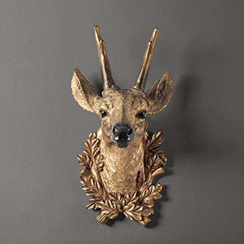 Faux Deer Head Wall Mount Resin Living Room Bedroom Pendant Animal Taxidermy Sculpture,Golden