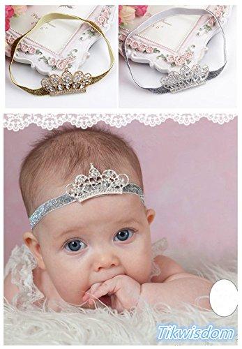 Tikwisdom, paquete de 2 cintas para el pelo con diseño de princesa noble, corona de cristal, para recién nacidos, bebés, niñas y niñas
