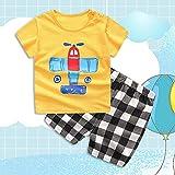 Camiseta de avión amarillo de tela de mezcla de algodón suave + pantalones cortos para el día de la familia para uso diario(100 yards)