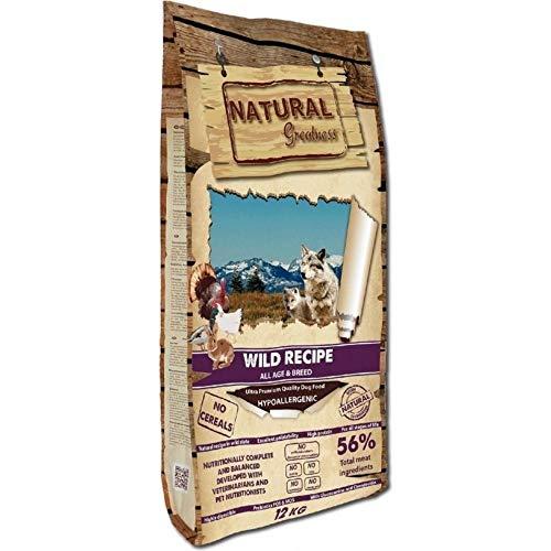 NATURAL GREATNESS - Pienso Natural para Perro Sin Cereales Wild Recipe Pato Pavo y Pollo - Saco 12 Kg + Aceite de Salmón Grizzly 500 ml   ANIMALUJOS (Saco 12 KG)