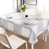 ENCOFT Manteles de Plástico para Mesas Rectangular de PVC Impermeable Mantel para Comedor Antimanchas Hules para Mesas Cocina Patrón Cuadro Verde Blanco 140x220cm
