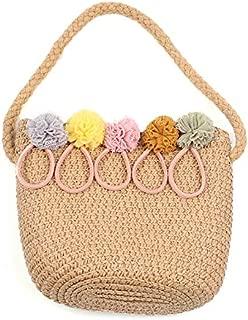 Docooler Children Girl Straw Bag Zip Top Holiday Beach Casual Bucket Crossbody Bag Purses Shoulder Bag