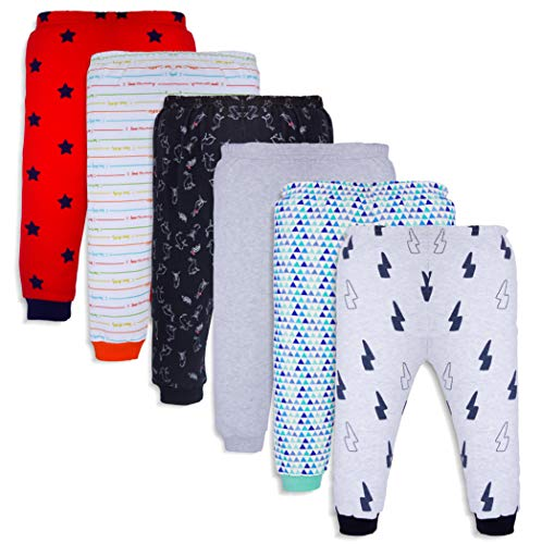Mini Cult Unisex Cotton Pajama Pants with Rib (Multicolour, 3-4 Years) - Pack of 6