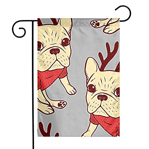 Cream Frenchie in Christmas Sweater Garden Flag Vertical Double Summer Yard Outdoor Decor Home Decor (12 x 18, Pool)