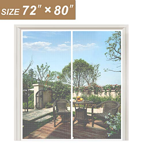 """White Magnetic Screen Door Fits Door Size 72 x 80, Strengthened Balcony Patio French Door Screen Curtain Fit Doors Size Up to 72""""W x 80""""H Max Keep Fly Bug Out"""