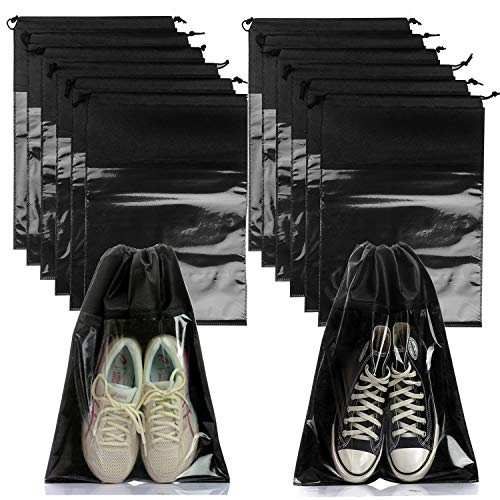 Booyckiy 24 PCS Travel Shoe Bags, Non-Woven Dust Cover Drawstring Storage with Visual Window for Men and Women, Large Packing Shoe Organizers Pouch Black