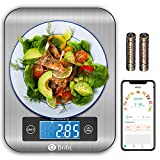Brifit Smart Kitchen Scale, Multifunction Nutritional Scale with Nutritional Calculator and Timer, Food Scale, Coffee Scale for Keto, Macro, Calorie and Weight Loss, Wireless Connection (2020 NEW)