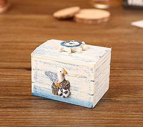 Recet Cofre del tesoro de madera, estilo mediterráneo, joya, caja de bombones, portátil, pequeño maletín de almacenamiento para bodas, fiestas, golosinas, pequeños regalos